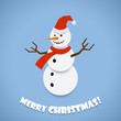 Paper snowman Christmas card design vector template.