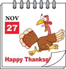 Page With Cartoon Turkey Escape And Happy Thanksgiving Greeting
