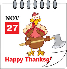 Page Turkey With Axe And Happy Thanksgiving Greeting