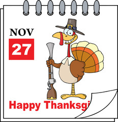 Cartoon Page Turkey With Pilgrim Hat and Musket