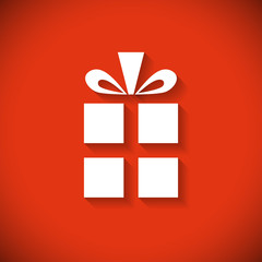 Gift box flat design Christmas greeting card.