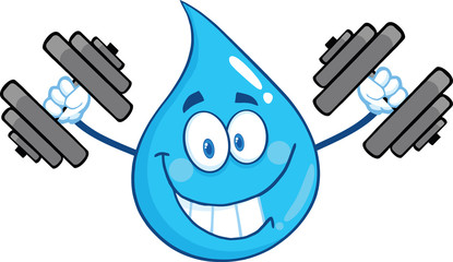 Smiling Water Drop Character Training With Dumbbells