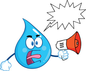 Angry Water Drop Screaming Into Megaphone With Speech Bubble