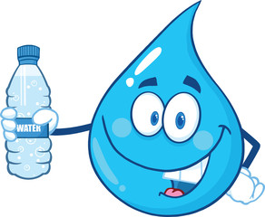 Water Drop Character Holding Up A Water Bottle.