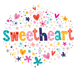 sweetheart typography lettering decorative text card design