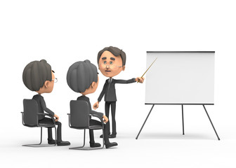 3d business man showing blank whiteboard