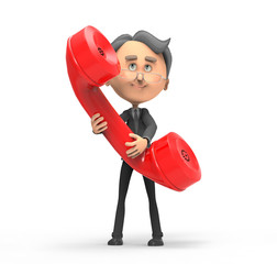 3d businessman with red telephone