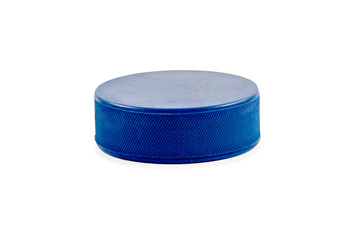 Blue hockey puck