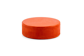 Orange hockey puck