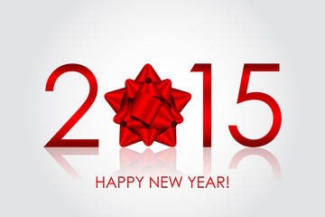 Vector 2015 Happy New Year background with red bow