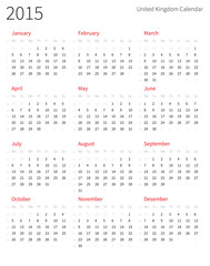 United Kingdom 2015 year calendar with week numbers.