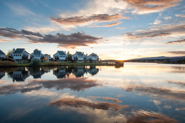 apartment lake reflect