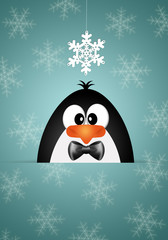 Funny penguin with snowflakes