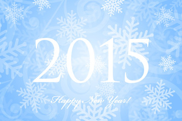 Vector 2015 Happy New Year background with snowflakes