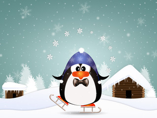 Funny penguin with skates