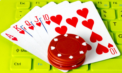 playing cards in Keyboard green