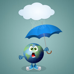 Funny earth with umbrella