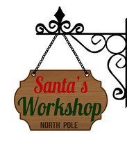 Elegant Santa's Workshop sign