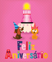 Feliz Aniversario Brazilian Portuguese Happy Birthday retro card