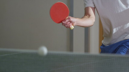 Slow motion table tennis serve