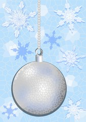 Silver christmas ball on the crystal mosaic background