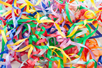 Colorful decorative gift ribbons as background