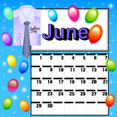 calendar for July Father's Day with a shirt, tie and balloons