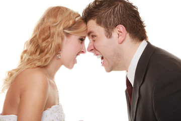 Angry woman man yelling at each other. Fury bride groom.