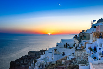 sunset over Agean sea in Santorini