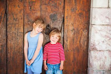 Outdoor portrait of adorable children