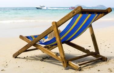 Lounge on the sandy beach of tropical sea
