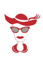 Cara de mujer en rojo