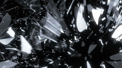 Glass shattered and broken in slow motion. Alpha matte