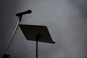 blank recording studio with microphone and text space