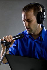 male voice over artist or singer on a microphone