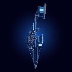 Map of Israel with electronic circuit
