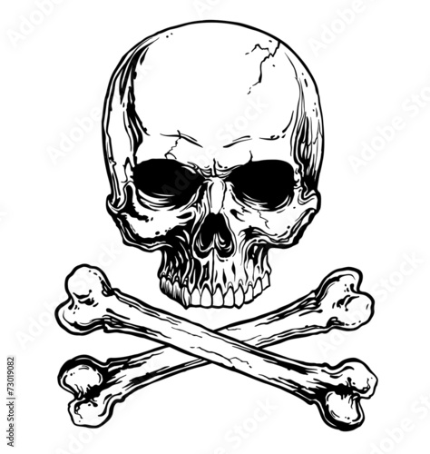 Black and white skull and crossbones isolated - 73019082