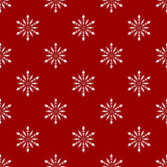 Red seamless background with snowflakes