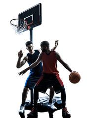 caucasian and african basketball players man dribbling silhouett