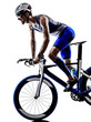 canvas print picture - man triathlon iron man athlete cyclist bicycling