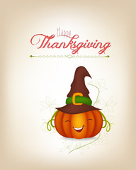 happy thankgiving with pumpkin greeting card