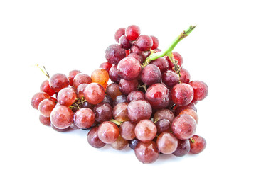 Bunch of red grapes and fresh with water drops
