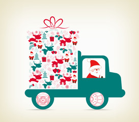 Santa Claus carrying a gift on the car