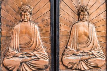 doors buddha carving Soho Central Hong Kong