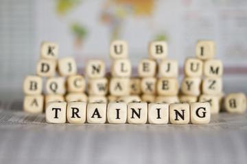 training word on newspaper background