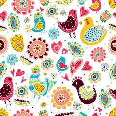 Love birds. Seamless pattern.