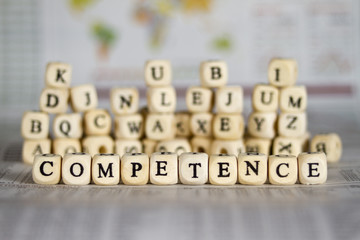 competence word on newspaper background