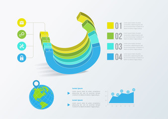 Solid business graph. Vector infographics