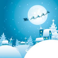 Santa's sleigh flying over the moon