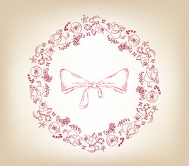 christmas sketch wreath with decoration ornament